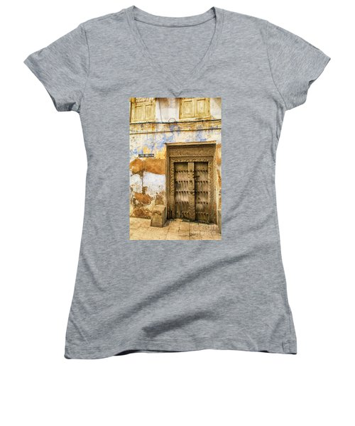 The Rustic Door Women's V-Neck T-Shirt (Junior Cut) by Amyn Nasser