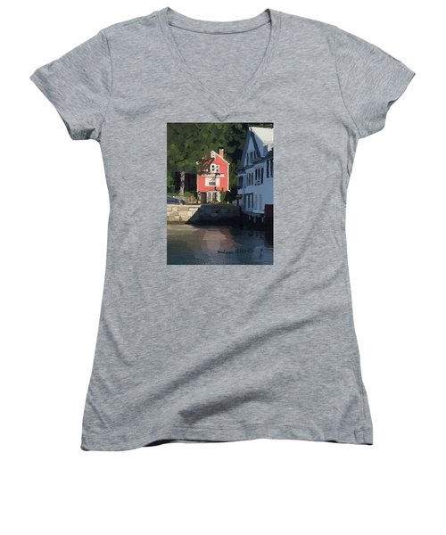 The Sacred Cod And Beacon Marine Women's V-Neck T-Shirt (Junior Cut) by Melissa Abbott