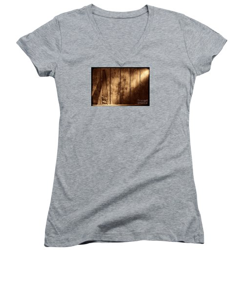 The Saw Women's V-Neck T-Shirt (Junior Cut) by American West Legend By Olivier Le Queinec