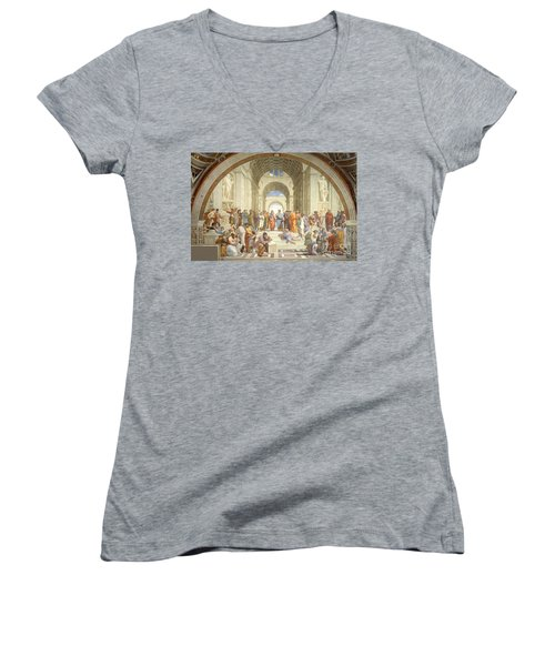The School Of Athens, Raphael Women's V-Neck T-Shirt