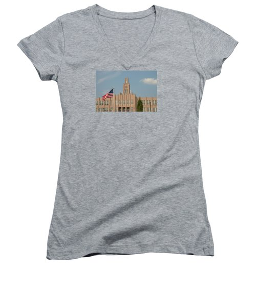 Women's V-Neck T-Shirt (Junior Cut) featuring the photograph The School On The Hill by Mark Dodd