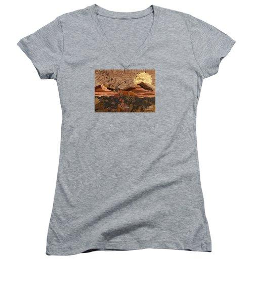 The Scream Of A Butterfly Women's V-Neck T-Shirt (Junior Cut) by Stanza Widen