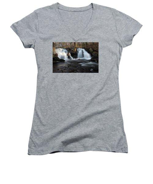 The Secret Waterfall In Golden Light Women's V-Neck
