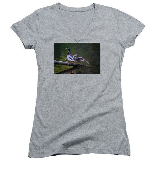 The Seventh Inning Stretch Women's V-Neck T-Shirt (Junior Cut) by Gary Hall
