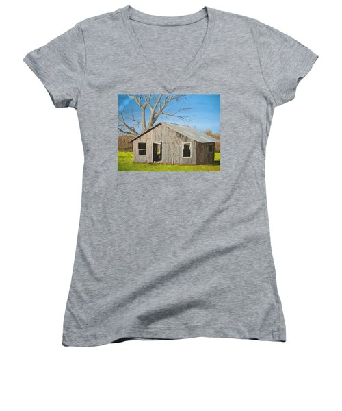 Women's V-Neck T-Shirt (Junior Cut) featuring the painting The Shack by Norm Starks