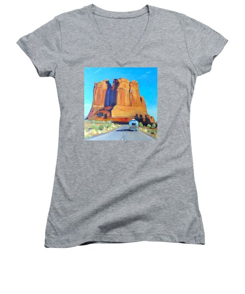 The Shadow Of The Three Gossips Arches Utah Women's V-Neck