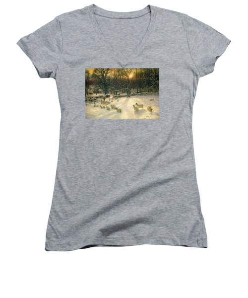 The Shortening Winters Day Is Near A Close Women's V-Neck