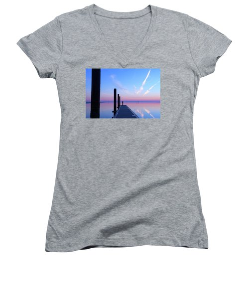 Women's V-Neck T-Shirt (Junior Cut) featuring the photograph The Silent Man by Thierry Bouriat