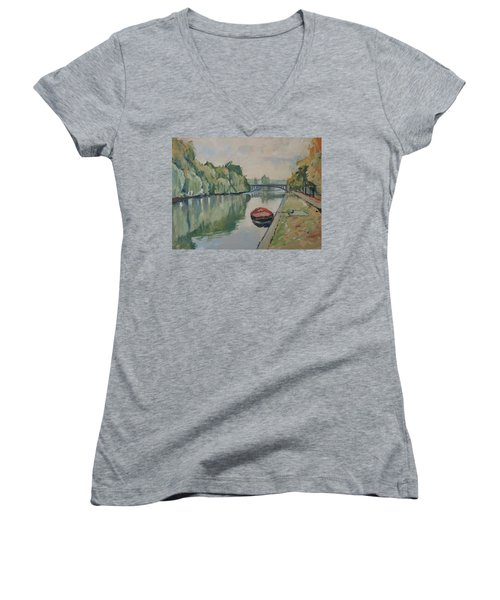 The Small Boat Along The Quai Of Halage Vise Women's V-Neck T-Shirt