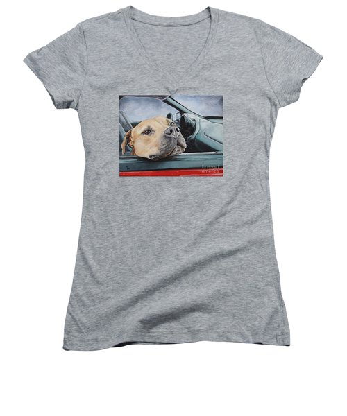 The Smell Of Freedom Women's V-Neck T-Shirt (Junior Cut) by Mary-Lee Sanders