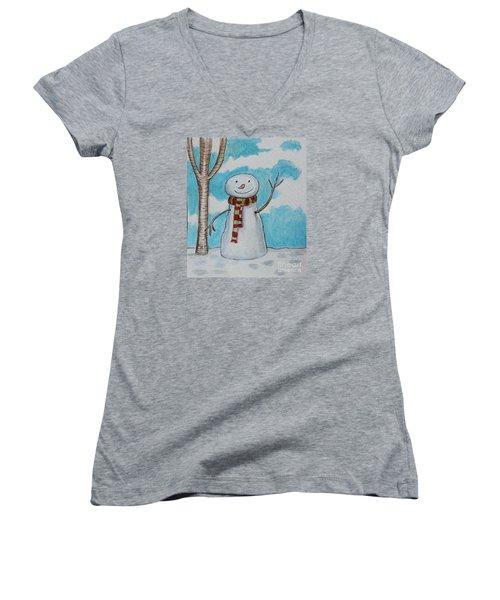 The Snowman Smile Women's V-Neck T-Shirt (Junior Cut) by Elizabeth Robinette Tyndall