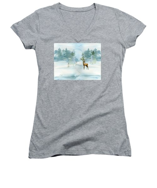 The Soft Arrival Of Winter Women's V-Neck T-Shirt (Junior Cut) by Colleen Taylor