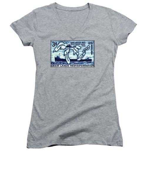 The Soo Locks Stamp Women's V-Neck T-Shirt (Junior Cut) by Lanjee Chee