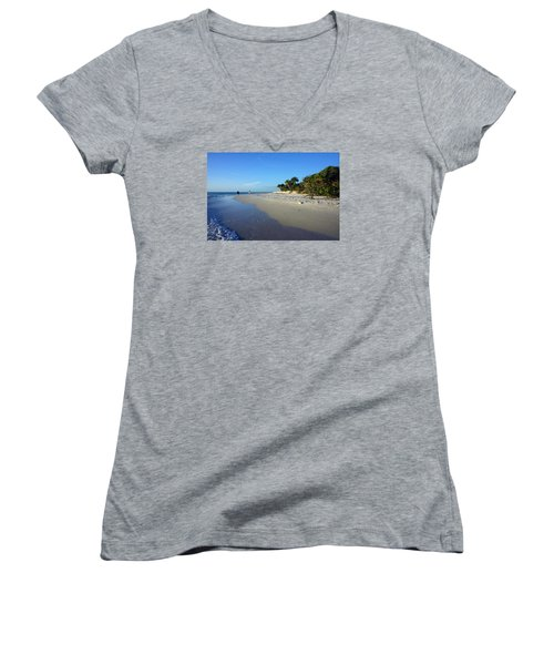 The South End Of Barefoot Beach In Naples, Fl Women's V-Neck