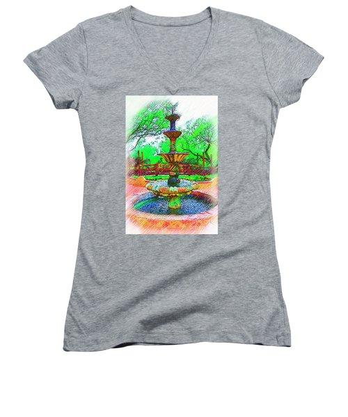 The Spanish Courtyard Fountain Women's V-Neck T-Shirt (Junior Cut) by Kirt Tisdale