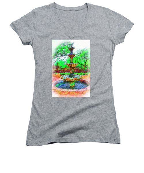 The Spanish Courtyard Fountain Women's V-Neck (Athletic Fit)