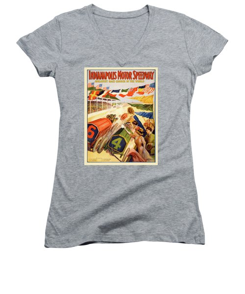 The Speedway Women's V-Neck T-Shirt (Junior Cut) by Gary Grayson