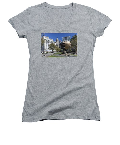 Women's V-Neck featuring the photograph The Sphere Batterie Park Nyc by Juergen Held