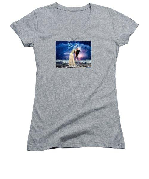 The Spirit Of Truth Women's V-Neck T-Shirt (Junior Cut) by Dolores Develde