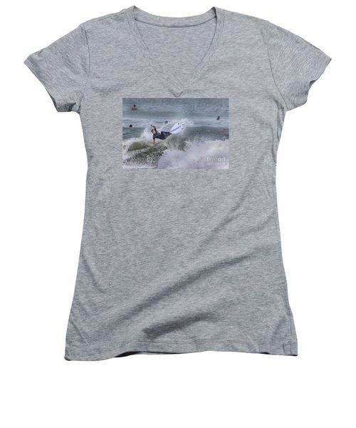 Women's V-Neck T-Shirt (Junior Cut) featuring the photograph The Spray by Deborah Benoit