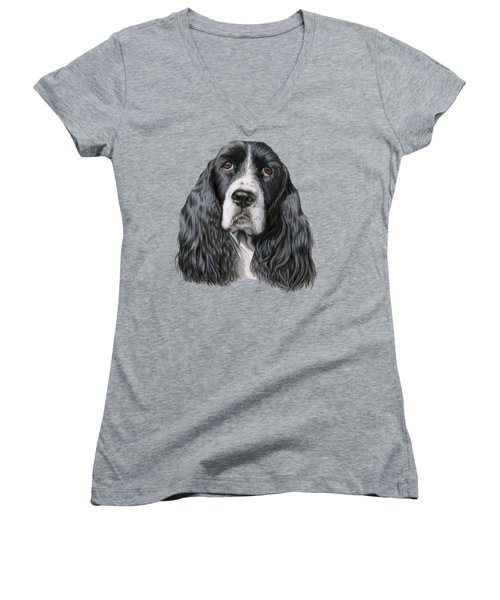 The Springer Spaniel Women's V-Neck T-Shirt (Junior Cut) by Sarah Batalka