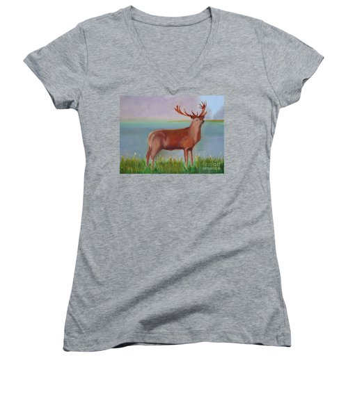 Women's V-Neck T-Shirt (Junior Cut) featuring the painting The Stag by Rod Jellison