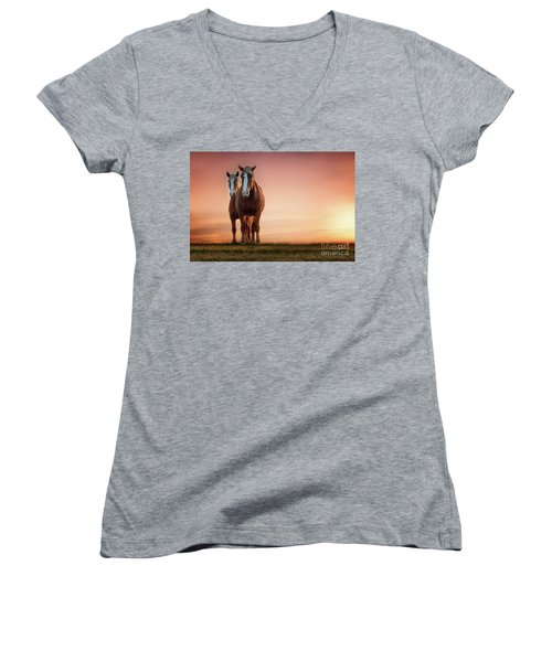 The Stallion And The Mare Women's V-Neck T-Shirt (Junior Cut) by Tamyra Ayles