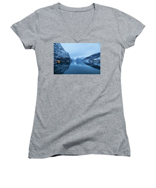 Women's V-Neck T-Shirt (Junior Cut) featuring the photograph The Stillness Of The Sea by David Chandler