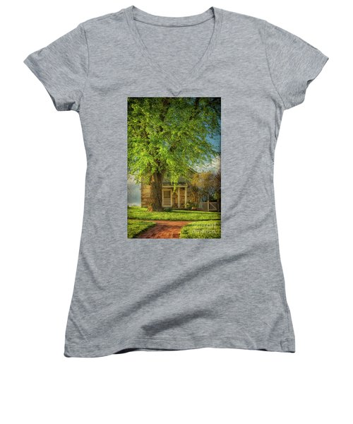 Women's V-Neck T-Shirt (Junior Cut) featuring the photograph The Stone Cottage On A Spring Evening by Lois Bryan