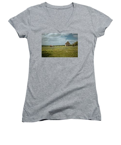 Women's V-Neck T-Shirt (Junior Cut) featuring the photograph The Stone House by Linda Unger