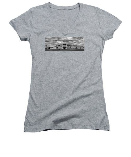 The Stone Pony Asbury Park New Jersey Black And White Women's V-Neck T-Shirt (Junior Cut) by Terry DeLuco