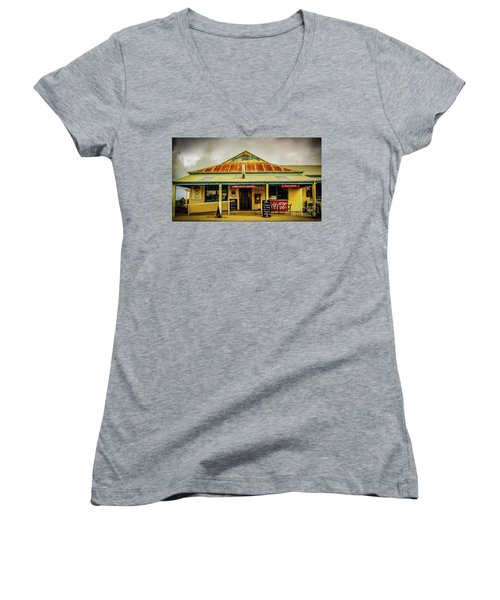 Women's V-Neck T-Shirt (Junior Cut) featuring the photograph The Store by Perry Webster