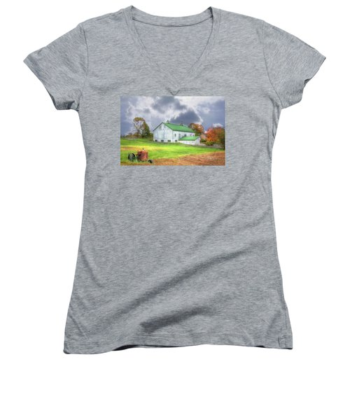 Women's V-Neck T-Shirt (Junior Cut) featuring the digital art The Storms Coming by Sharon Batdorf