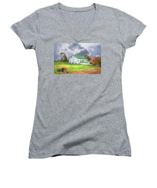 The Storms Coming Women's V-Neck T-Shirt (Junior Cut) by Sharon Batdorf