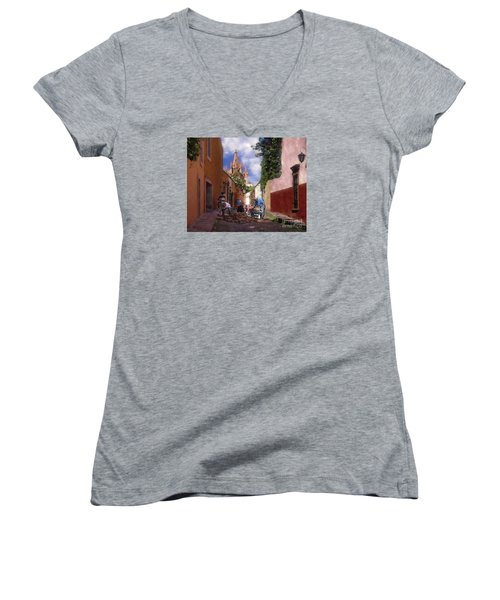 Women's V-Neck T-Shirt (Junior Cut) featuring the photograph The Street Workers by John  Kolenberg