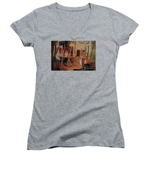 Women's V-Neck T-Shirt (Junior Cut) featuring the pastel The Studio by Nancy Kane Chapman