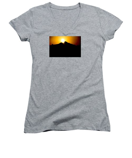 The Sun Feeds Me Women's V-Neck T-Shirt (Junior Cut) by Jez C Self