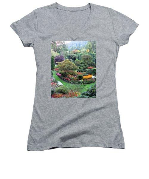 The Sunken Garden Women's V-Neck T-Shirt (Junior Cut) by Betty Buller Whitehead