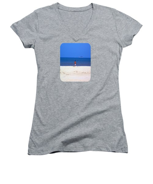 Women's V-Neck T-Shirt (Junior Cut) featuring the photograph The Swimmer by Ethna Gillespie