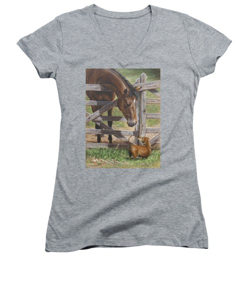 Women's V-Neck T-Shirt (Junior Cut) featuring the painting The Tall And Short Of It by Kim Lockman