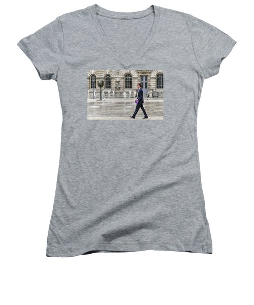 Women's V-Neck T-Shirt (Junior Cut) featuring the photograph The Tax Man by Keith Armstrong