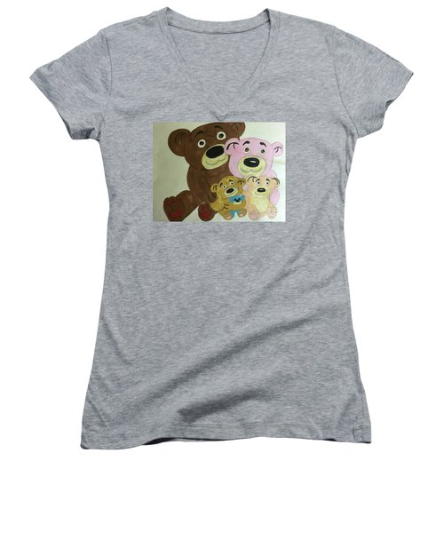 The Teddy Family  Women's V-Neck (Athletic Fit)