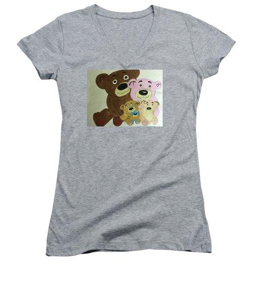 The Teddy Family  Women's V-Neck T-Shirt