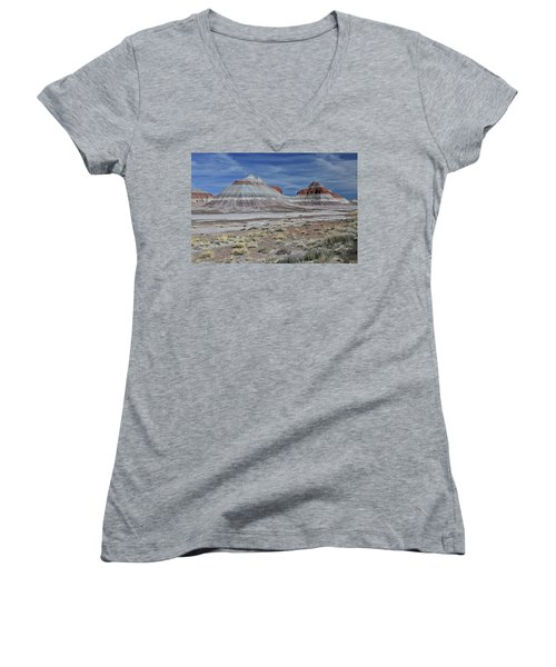 Women's V-Neck T-Shirt (Junior Cut) featuring the photograph the TeePees by Gary Kaylor