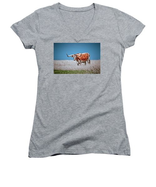 Women's V-Neck T-Shirt (Junior Cut) featuring the photograph The Texas Longhorn by Linda Unger