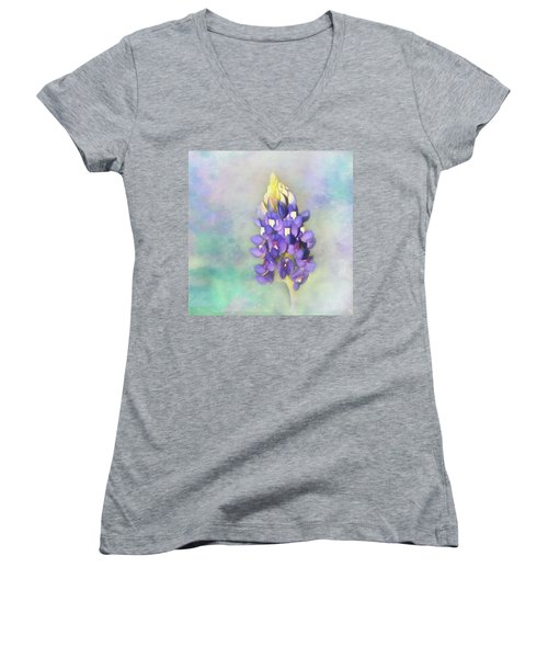 Women's V-Neck T-Shirt (Junior Cut) featuring the photograph The Texas State Flower The Bluebonnet by David and Carol Kelly