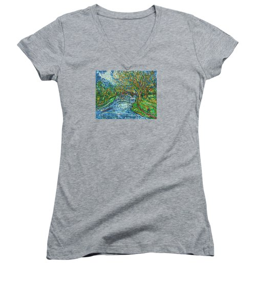 The Thames At Oxford Women's V-Neck T-Shirt (Junior Cut) by Anna Yurasovsky