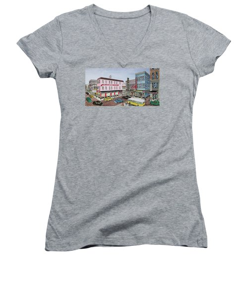 The Theater District Portsmouth Ohio 1948 Women's V-Neck T-Shirt (Junior Cut) by Frank Hunter