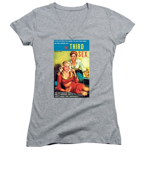 Women's V-Neck T-Shirt (Junior Cut) featuring the painting The Third Sex by Robert Stanley