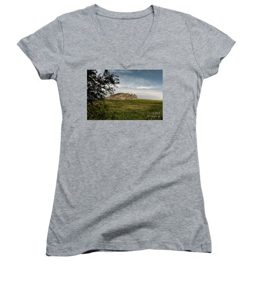 Women's V-Neck T-Shirt (Junior Cut) featuring the photograph The Three Fingers by Bruno Spagnolo